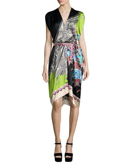 Etro Cap-Sleeve Belted Tunic Dress, Black