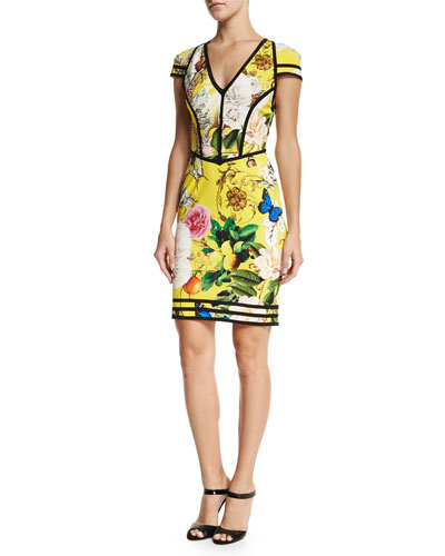 Floral-Print Punto Cap-Sleeve Dress, Yellow