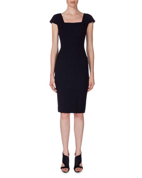 Roland Mouret Square-Neck Cap-Sleeve Sheath Dress, Navy