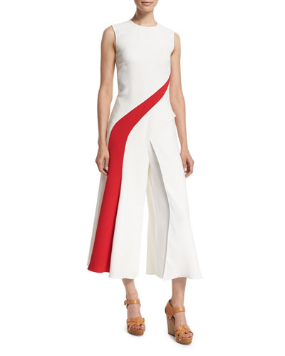 Ralph Lauren Black Label Brielle Two-Tone Cropped Jumpsuit. Off White