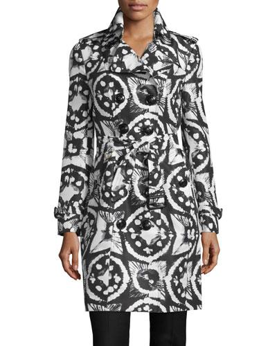 Sandringham Long Tie-Dye Faille Trenchcoat, Black/White