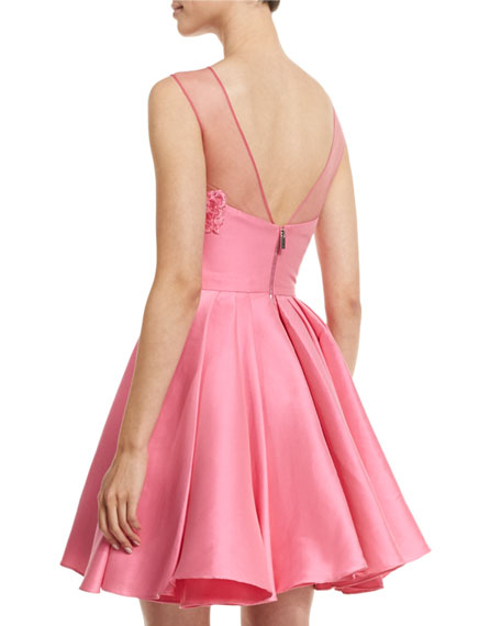 Floral-Embroidered Party Dress, Shocking Pink