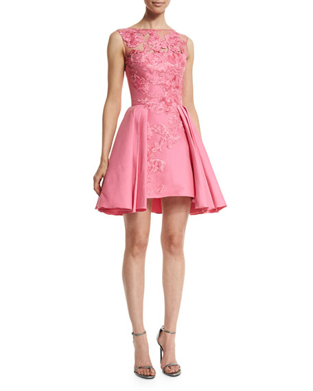 Zuhair Murad Floral-Embroidered Party Dress, Shocking Pink