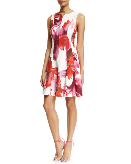 Carolina Herrera Sleeveless Floral-Print Fit-&-Flare Dress, Pink/Red