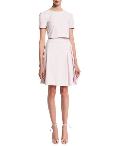 Carolina Herrera Short-Sleeve Trompe l'Oeil Dress, Lilac