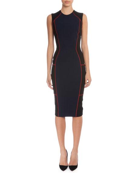Colorblock Sheath Dress W/Contrast Seaming, Navy/Black