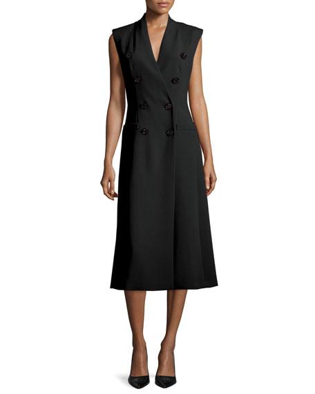 Escada Double-Breasted Sleeveless Coat Dress, Black