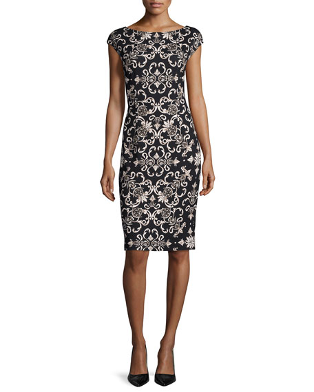 Escada Cap-Sleeve Heritage Printed Sheath Dress, Sand Dune
