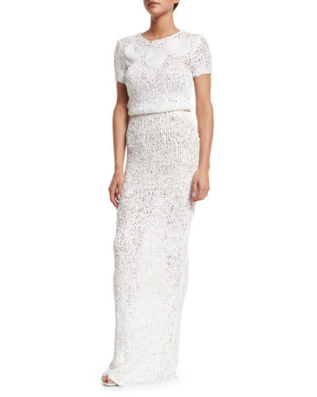 Zac Posen Short-Sleeve Round-Neck Crochet Gown, Ivory