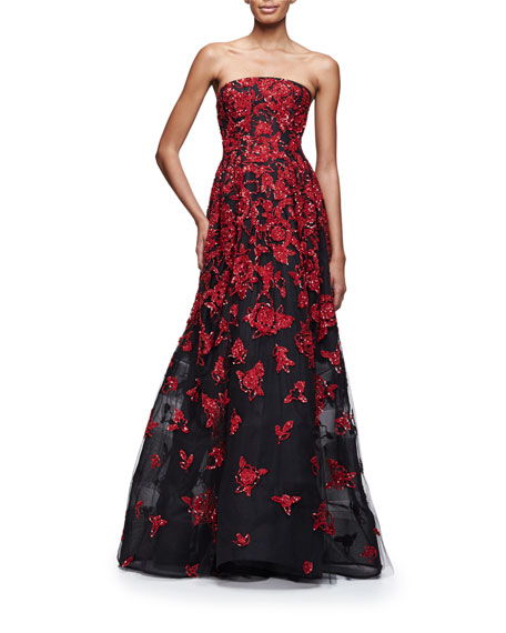 Strapless Sequined Floral-Embroidered Gown, Ruby/Black