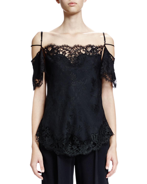 fffdad4a2c2 Givenchy Off-The-Shoulder Lace-Trim Blouse, Black | Neiman Marcus