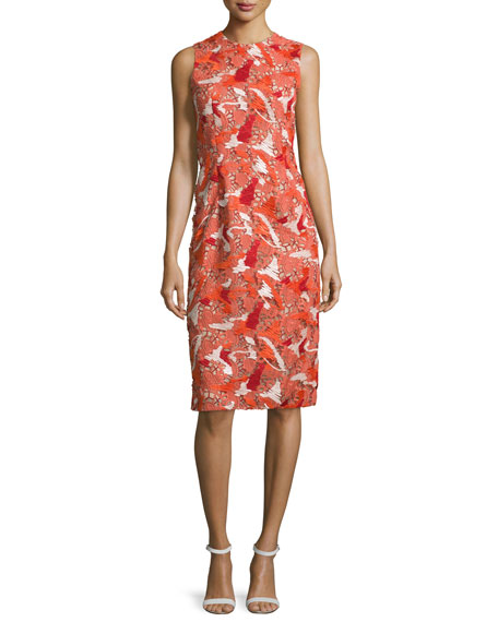 Prabal Gurung Sleeveless Jewel-Neck Lace Sheath Dress, Vermillion