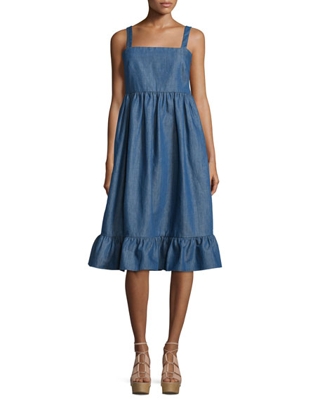 Co Empire-Waist Denim Tank Dress, Pale Blue