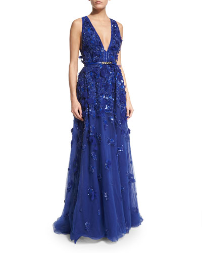 Sleeveless Embellished-Tulle Gown, Imperial