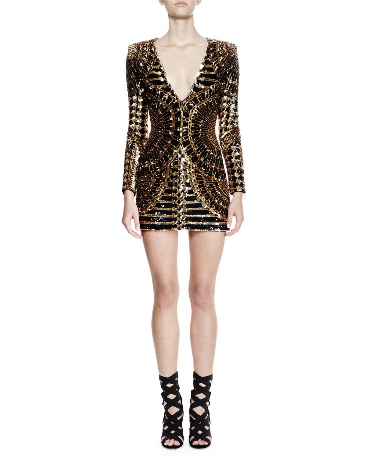 Balmain Long Sleeve Embellished Mini Dress Blackgold Neiman Marcus