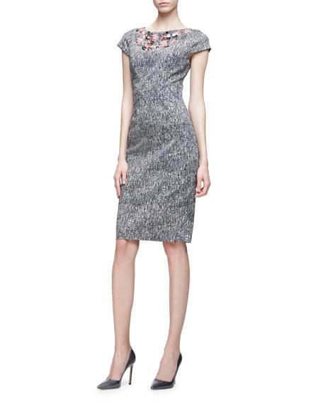 Lela Rose Cap-Sleeve Floral-Embroidered Dress, Black