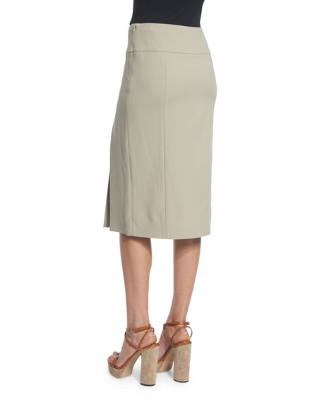 Mid-Rise Straight Wool Skirt W/Slit, Sand