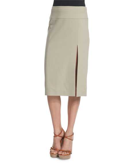 Michael Kors Mid-Rise Straight Wool Skirt W/Slit, Sand