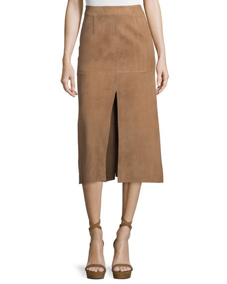 Agnona Mid-Rise Skirt W/Side Slit, Phard Brown