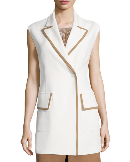 Agnona Snap-Front Two-Tone Long Vest, Sleeveless Tiered A-Line