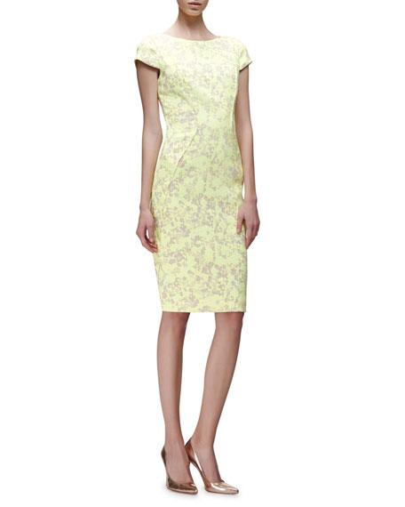 Lela Rose Cap-Sleeve Floral-Print Sheath Dress, Citrine/Multi