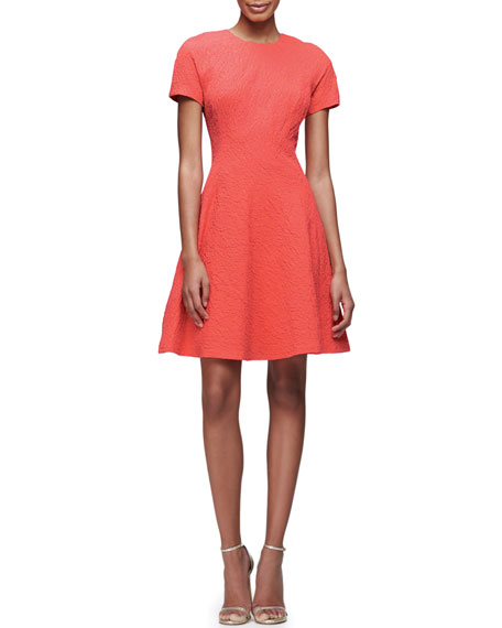 Lela Rose Short-Sleeve Matelasse Fit-&-Flare Dress, Coral