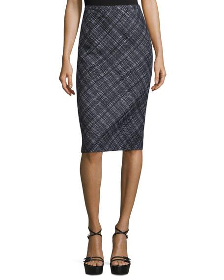 Mid-Rise Plaid Pencil Skirt, Black/White