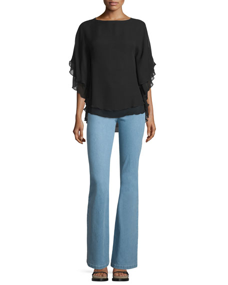 Mid-Rise Flare-Leg Contour Jeans, Sky Blue