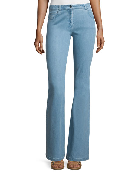 Michael Kors Collection Mid-Rise Flare-Leg Contour Jeans, Sky