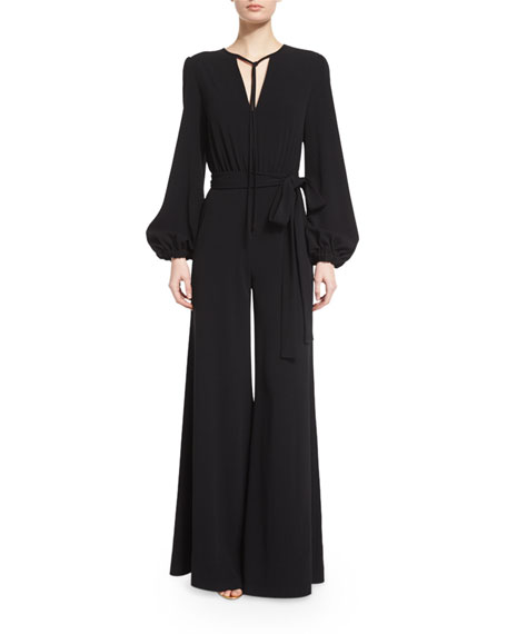 Co Bishop-Sleeve Flare-Leg Jumpsuit, Black