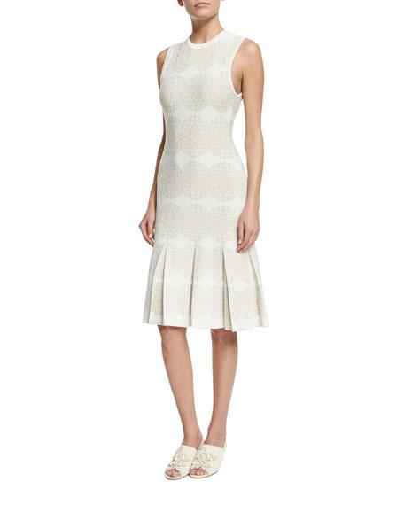 Derek Lam Sleeveless Medallion-Print Intarsia Dress, Ivory/Multi