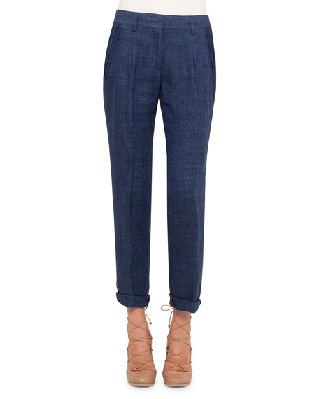 Akris punto Mia Slim-Leg Cropped Pants, Denim