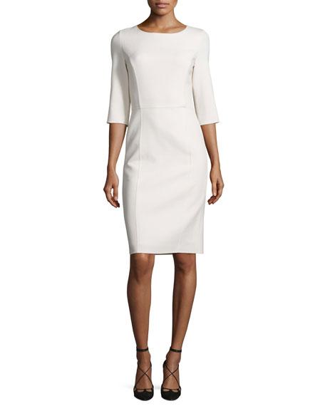 3/4-Sleeve Round-Neck Sheath Dress, White