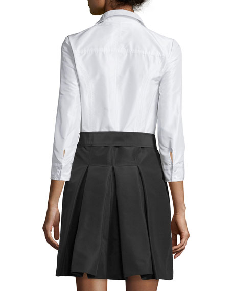 Carolina Herrera 3/4-Sleeve Colorblock Trench Dress, White/Black