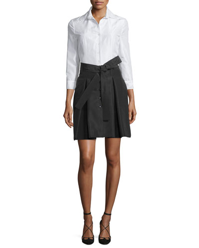 3/4-Sleeve Colorblock Trench Dress  White/Black