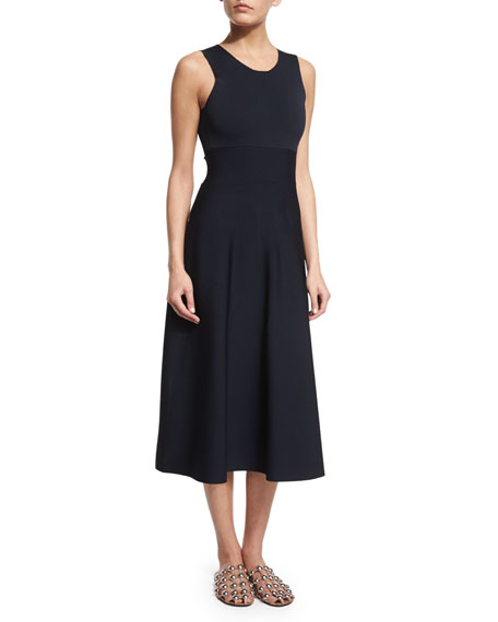 Alexander Wang Sleeveless Dress W/Back Cutouts, Navy