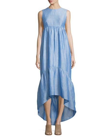 Co Sleeveless Tiered High-Low Dress, Light Blue
