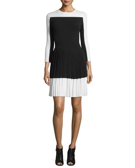 Carolina Herrera3/4-Sleeve Pleated-Skirt Dress, Black/White