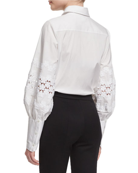 Pouf-Sleeve French-Cuff Blouse, White
