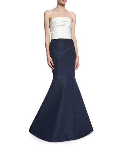 Strapless Colorblock Fishtail Gown, Ivory/Indigo