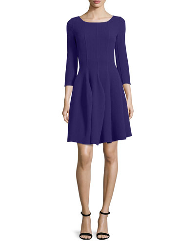3/4-Sleeve Godet-Pleated Dress, Imperial Purple