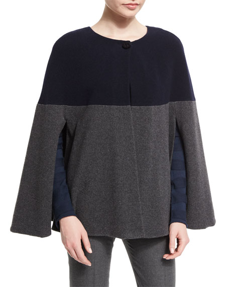 Armani Collezioni One-Button Colorblock Cape, Blue/Gray