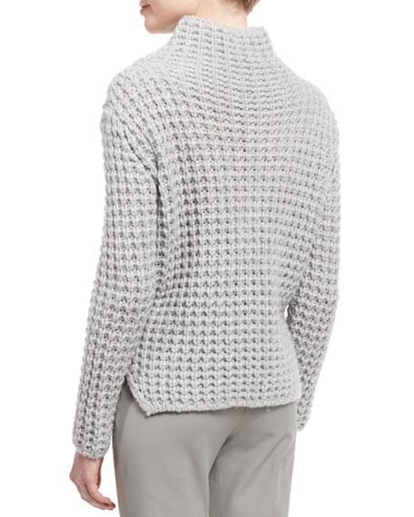 Popcorn-Knit Turtleneck Side-Split Sweater, Silver Gray