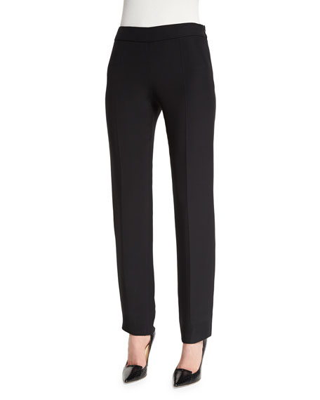 Armani Collezioni Side-Zip Slim-Leg Cady Pants, Black