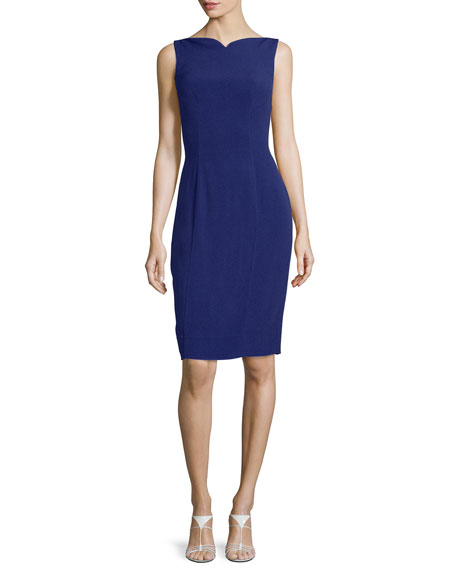 Sleeveless Sweetheart-Neck Sheath Dress, Marine Blue