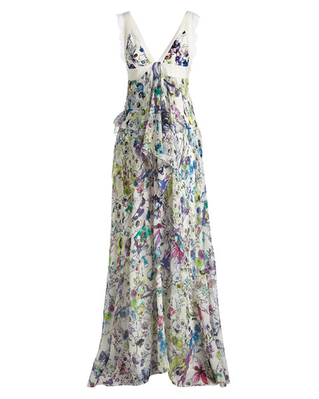 Sleeveless Lace-Inset Tiered Gown, White/Multi