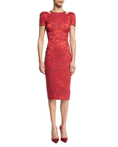 Short-Sleeve Cocktail Dress W/Cutouts, Scarlet