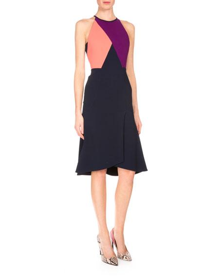 Roland Mouret Kenard Colorblock Fit-&-Flare Dress, Navy/Coral/Grape