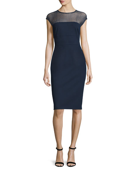 Escada Honeycomb-Top Jersey Sheath Dress, Midnight Blue