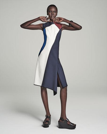 Sleeveless Jewel-Neck Colorblock Dress, Midnight Blue